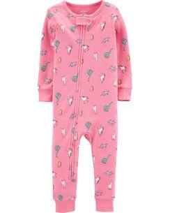 5160276eeec5d9 1-Piece Dinosaurs & Unicorns Snug Fit Cotton Footie PJs