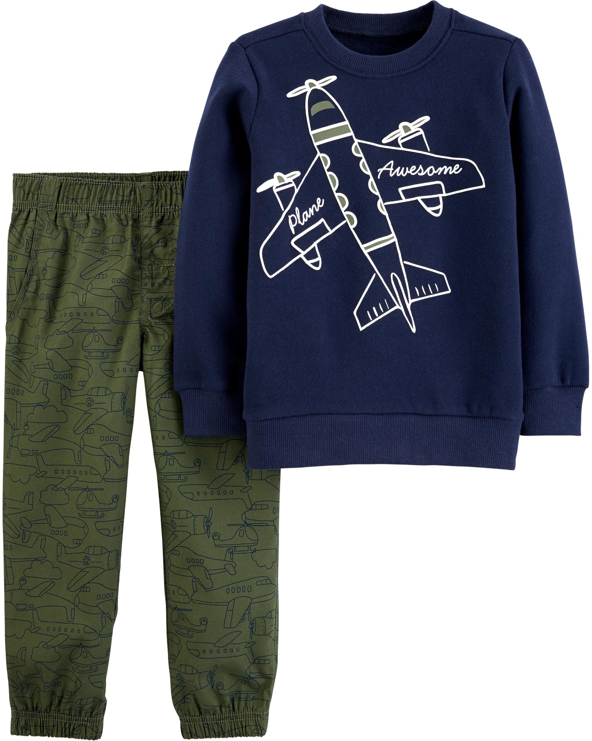 New Carter/'s Airplanes Boys Long Sleeve Shirt Top Blue Size 10,12,14