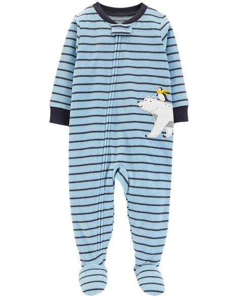 bb92f74f9e28 1-Piece Striped Polar Bear Fleece PJs