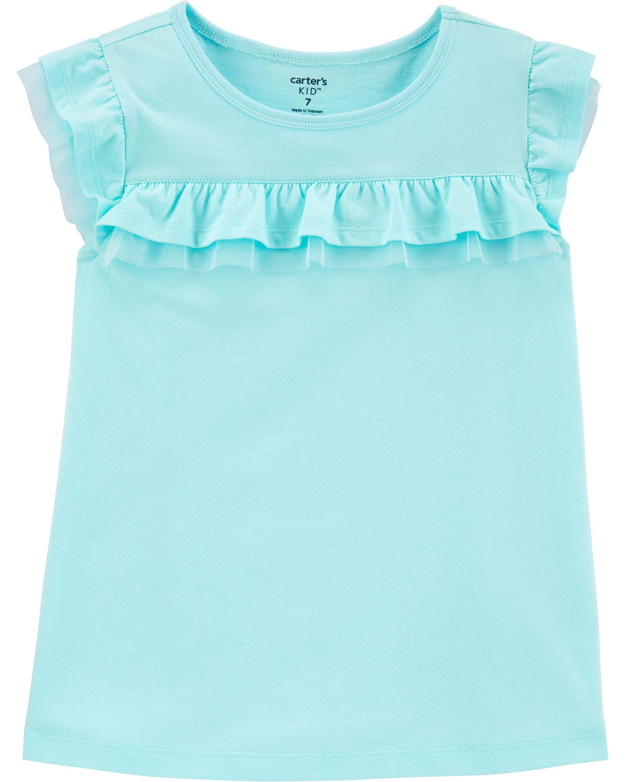 Tulle-Trim Jersey Top
