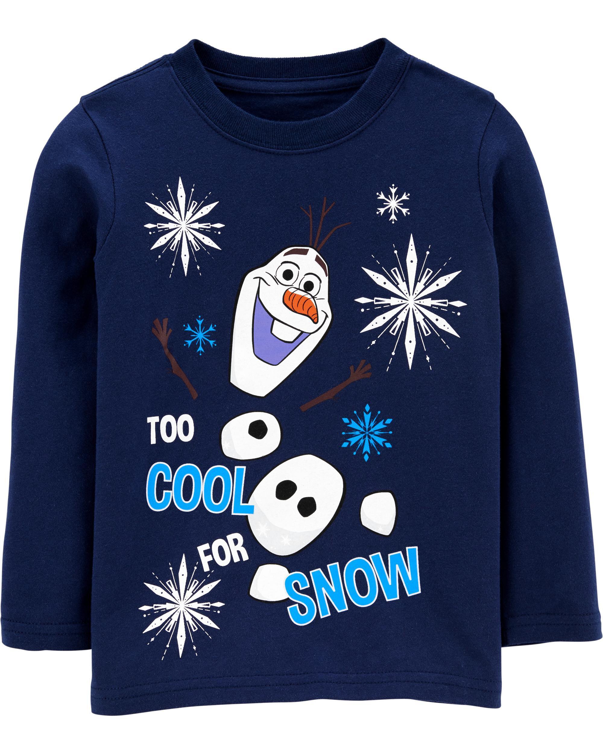 Girls 4T Disney FROZEN OLAF T-SHIRT Red World Long Sleeve Snowman Snow Much Fun