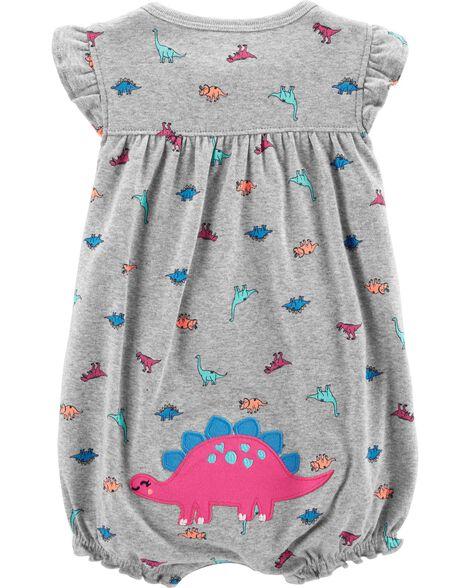 7ce9848bde9 Baby Girl Dinosaur Snap-Up Romper