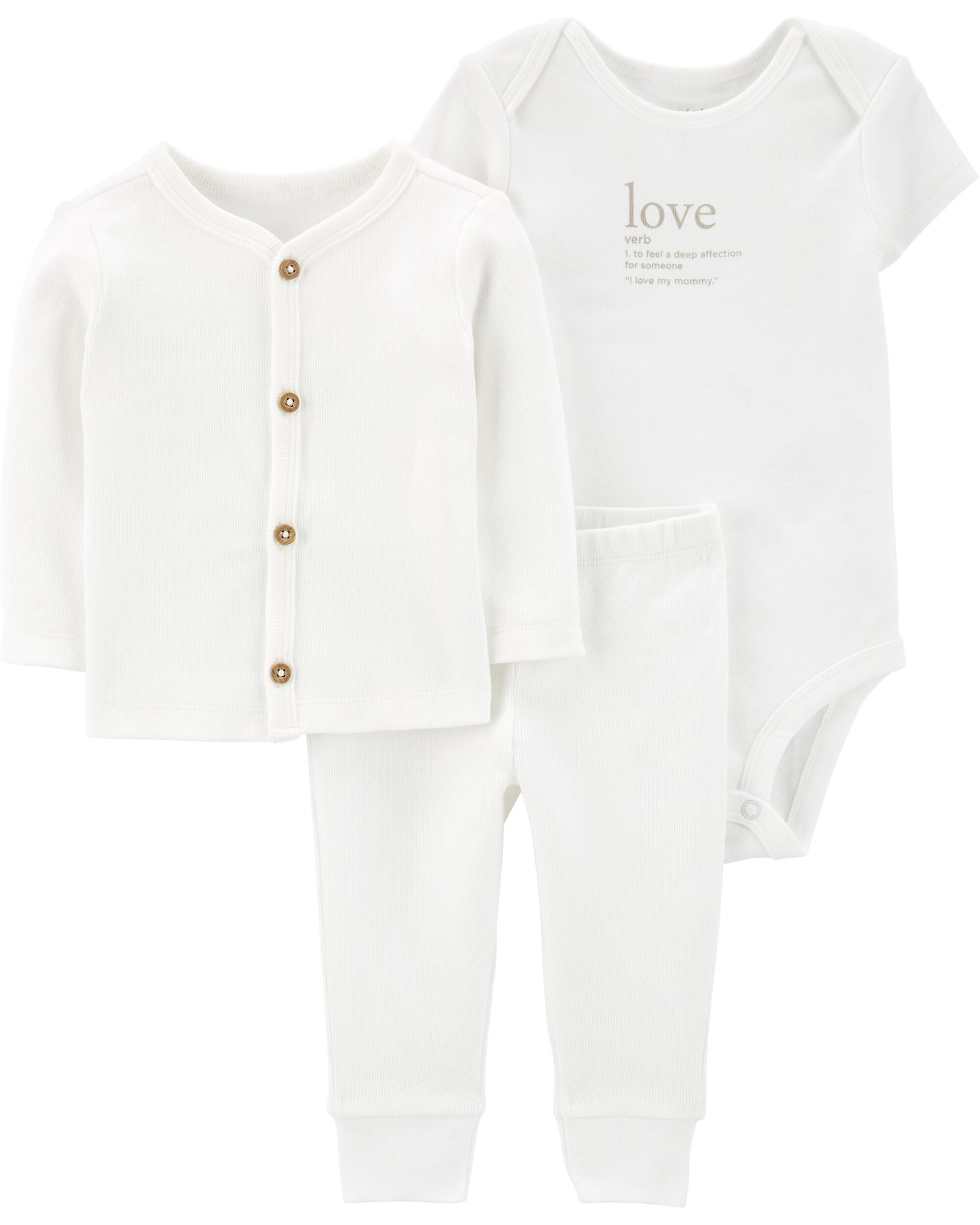 Carters Baby 2 Piece Outfit Set sizes Newborn 6 12 18 months Black White