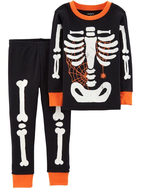 2-Piece Glow-In-The-Dark Halloween Snug Fit Cotton PJs