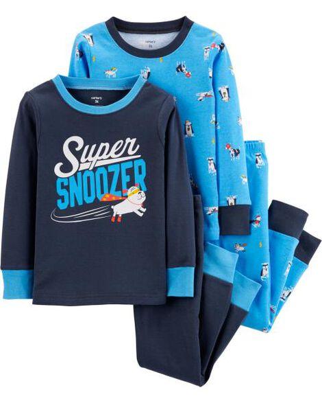 4-Piece Super Dog Snug Fit Cotton PJs