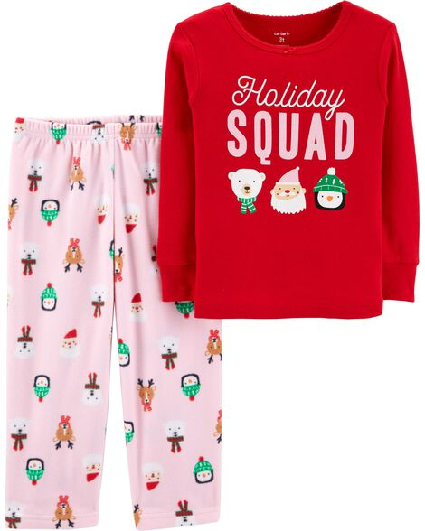 fc4ed1da4 2-Piece Toddler Christmas Cotton   Fleece PJs