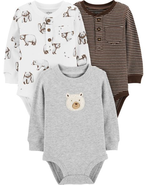 91a035ff3f 3-Pack Bear Long-Sleeve Bodysuits