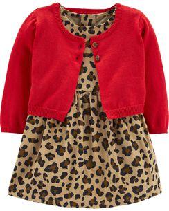 2 piece leopard corduroy dress cardigan set