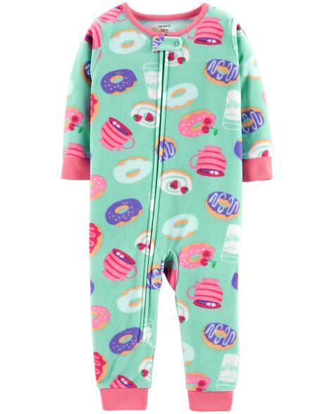 e402b7b3e26b 1-Piece Donut Fleece Footless PJs
