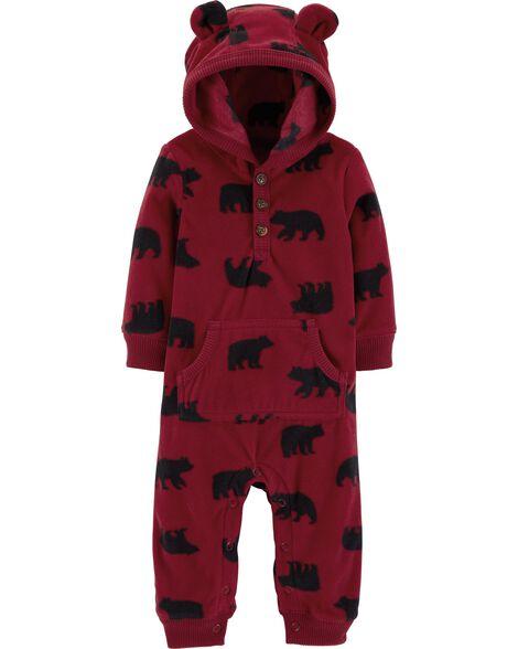 3c21cd81b8ed Bear Hooded Fleece Jumpsuit