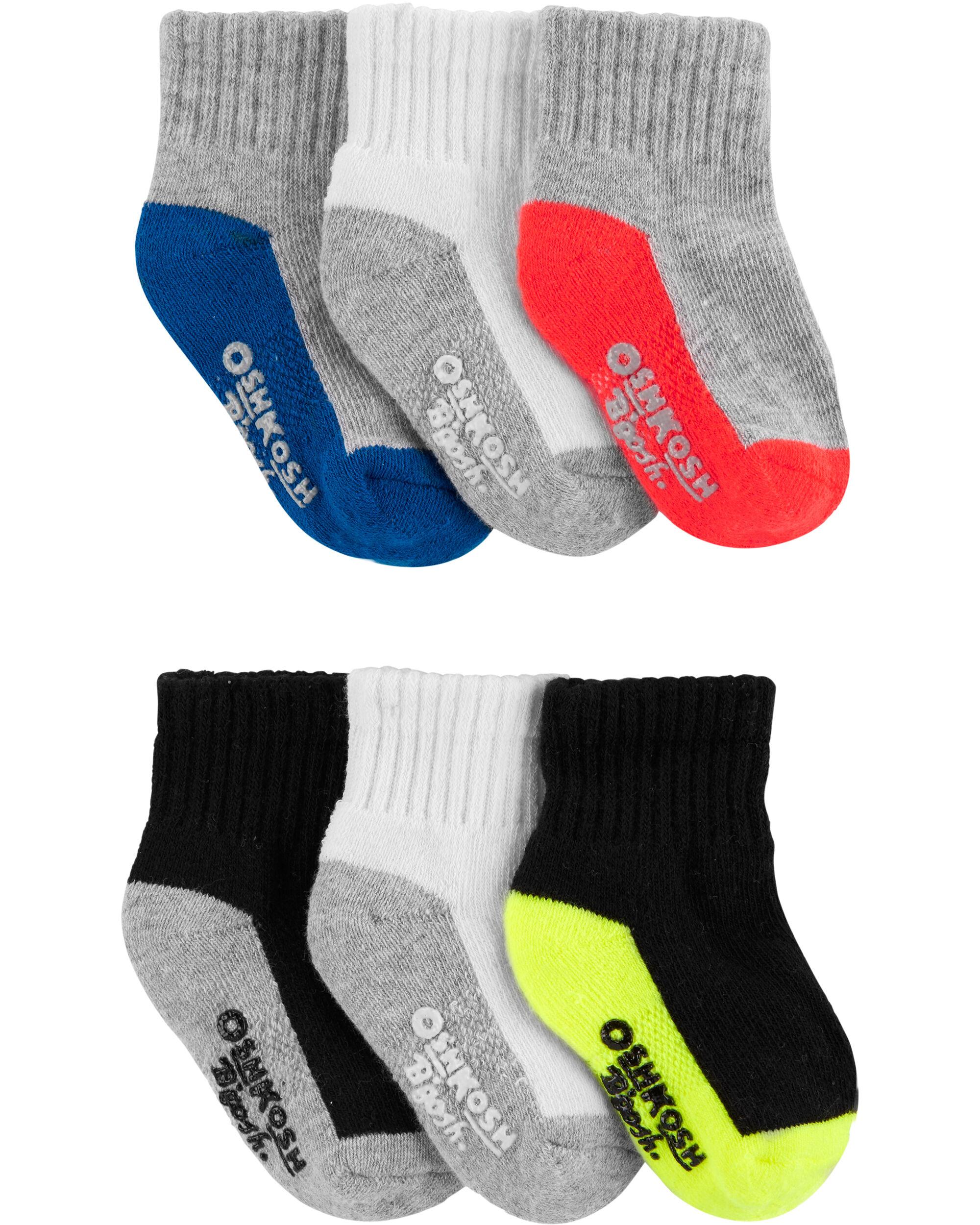 6-Pack Athletic Quarter Crew Socks