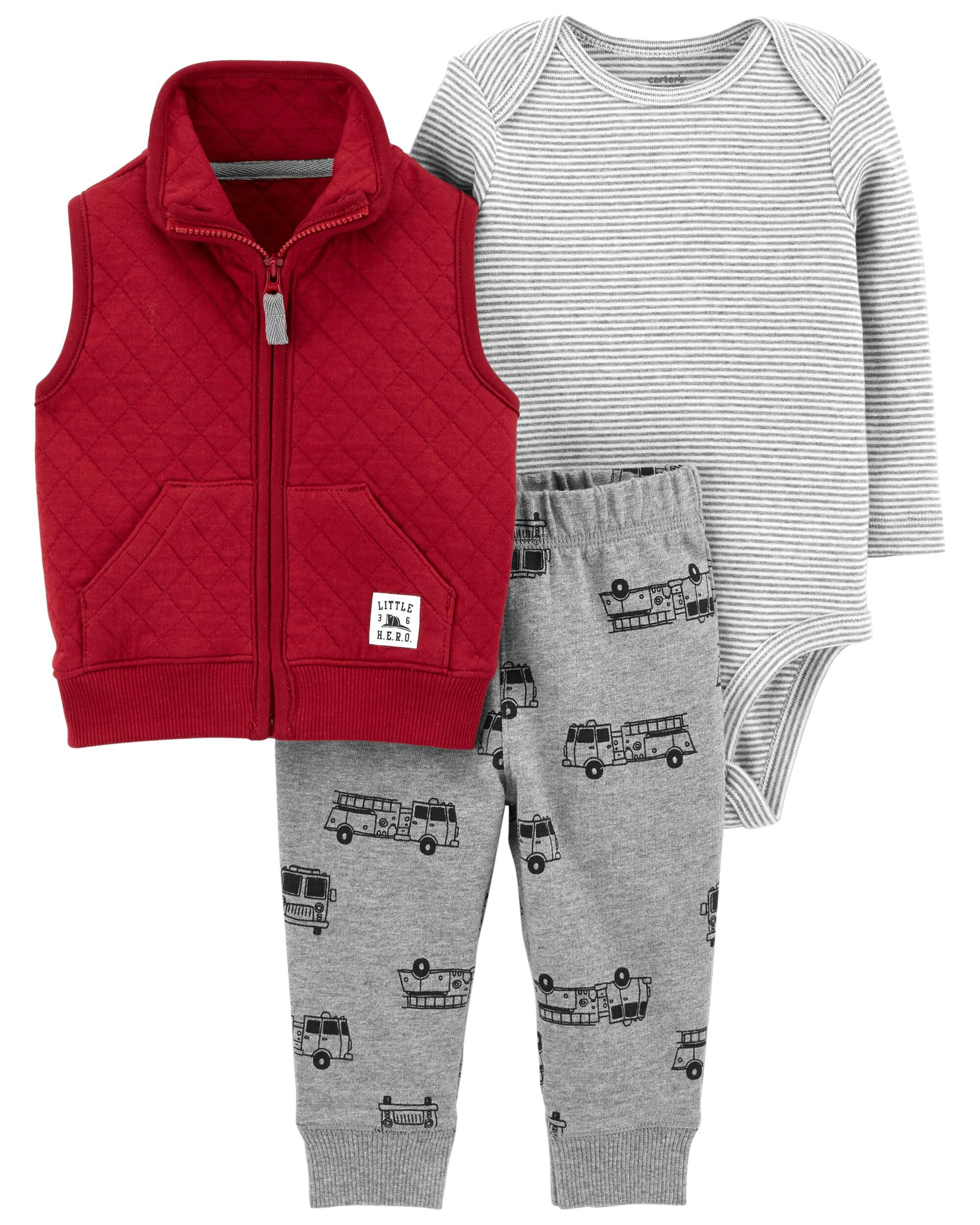 New Carter/'s Boys 3 Piece Red Fire Truck Bodysuit Top Pant Set NWT NB 6m 12m 24m