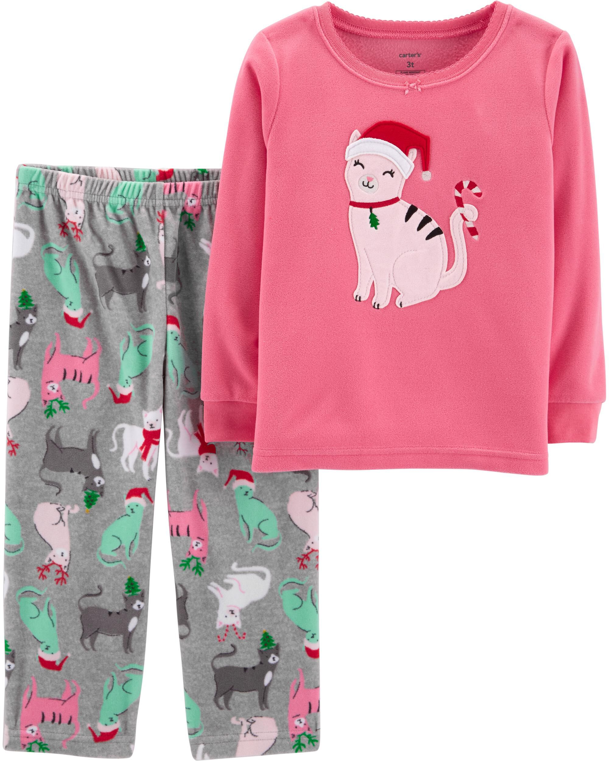 2 piece christmas cat fleece pjs loading zoom