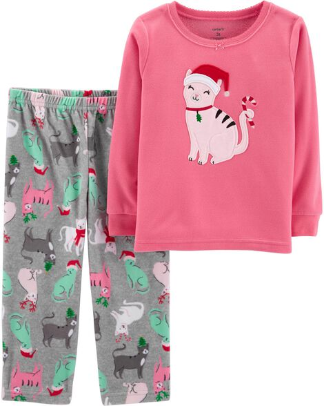 37a4d6f6d5b8 2-Piece Christmas Cat Fleece PJs