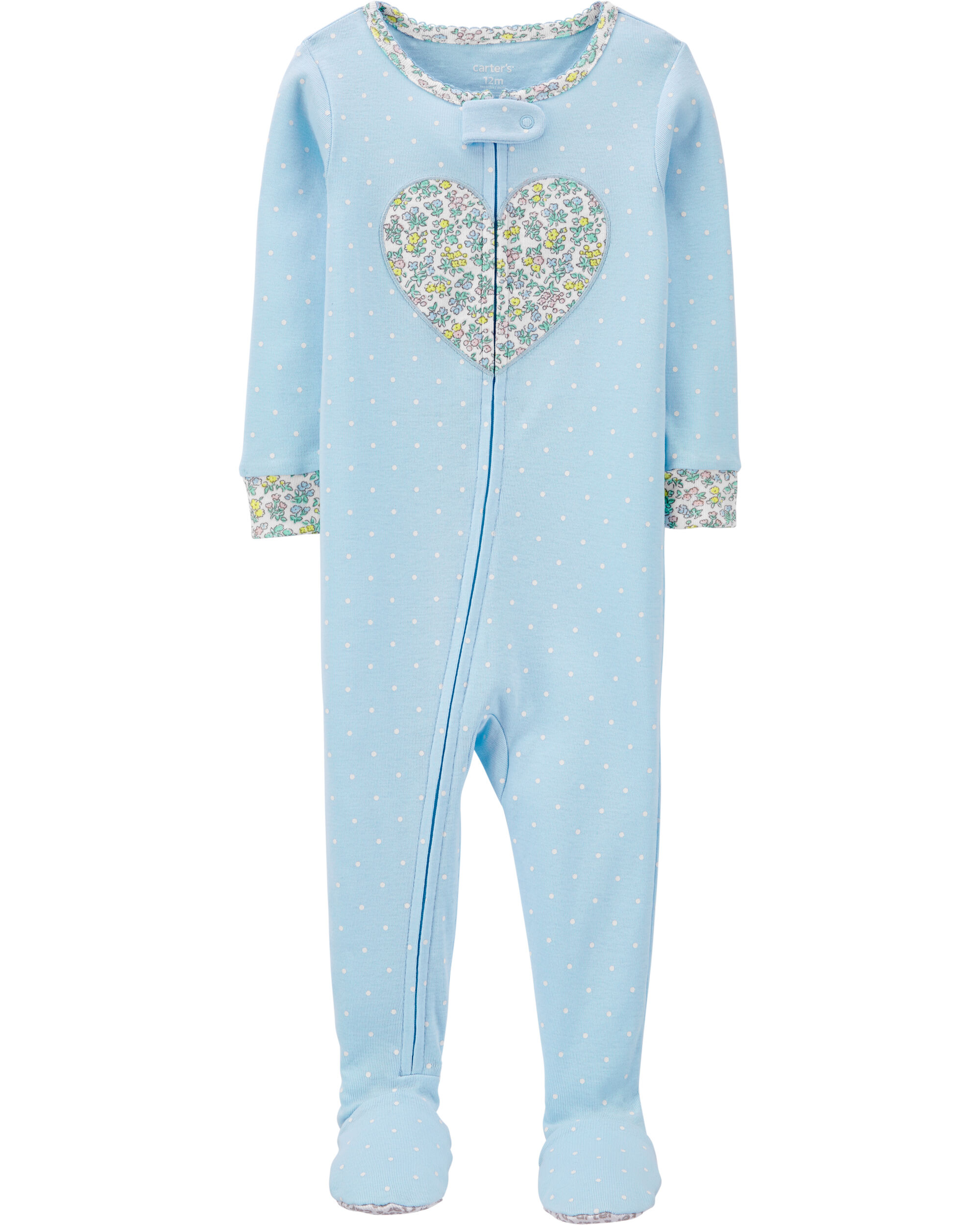 1-Piece Floral Heart Snug Fit Cotton Footie PJs