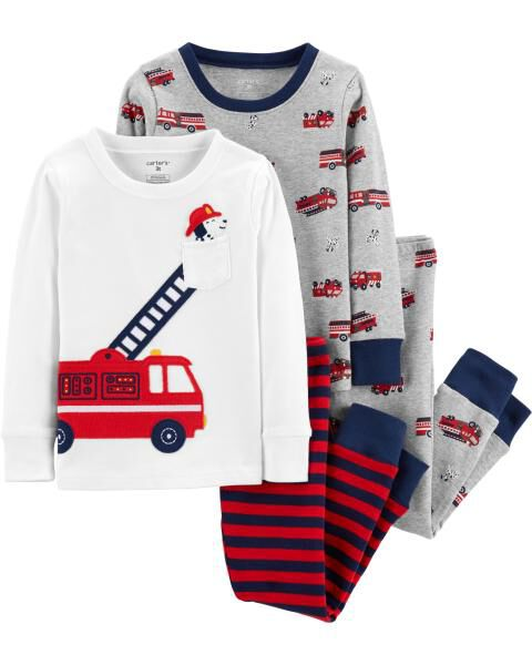 Carters Boys Firetruck 4-Piece Pajama Set Size 6
