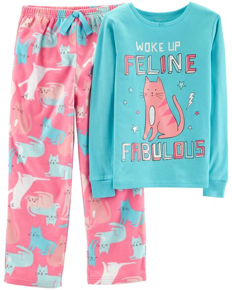 081a1be6a385 2-Piece Cat Cotton   Fleece PJs