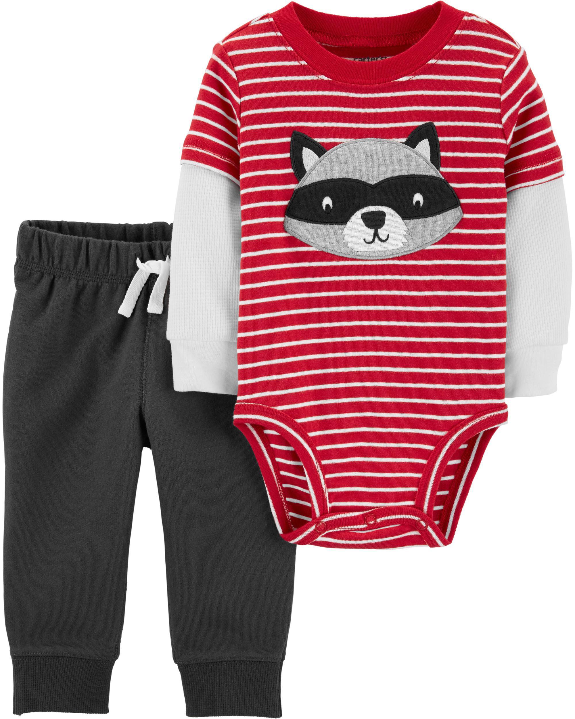 *DOORBUSTER* 2-Piece Raccoon Layered-Look Bodysuit Pant Set