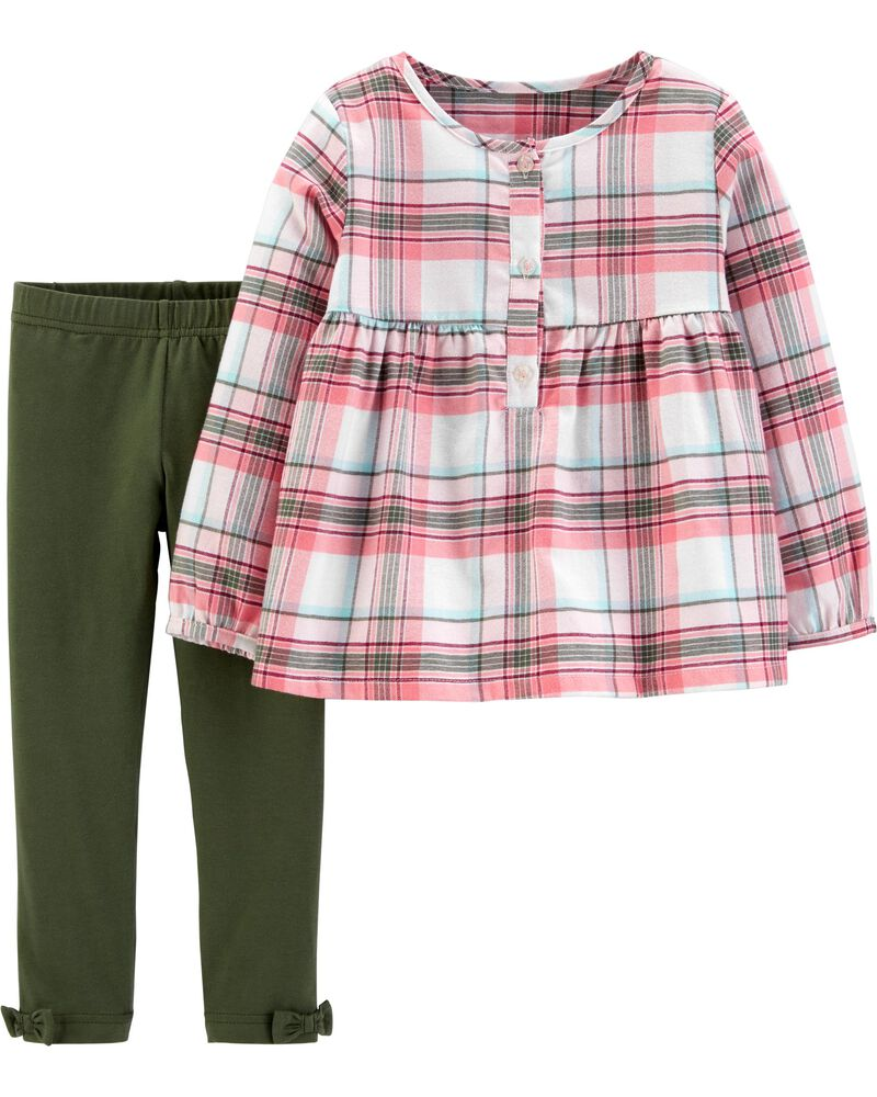 Carters Skirt Girls 2T Green White Checked Dress New with tags