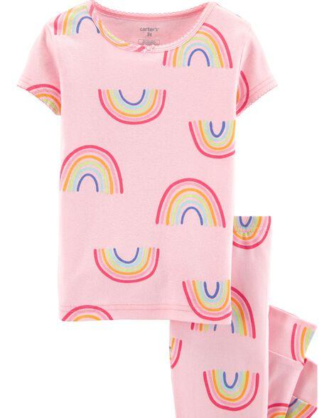 4-Piece Rainbow Snug Fit Cotton PJs