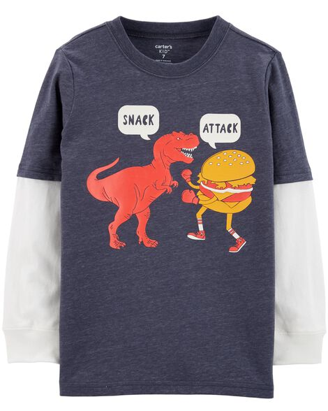 Snack Attack Dinosaur Layered-Look Tee