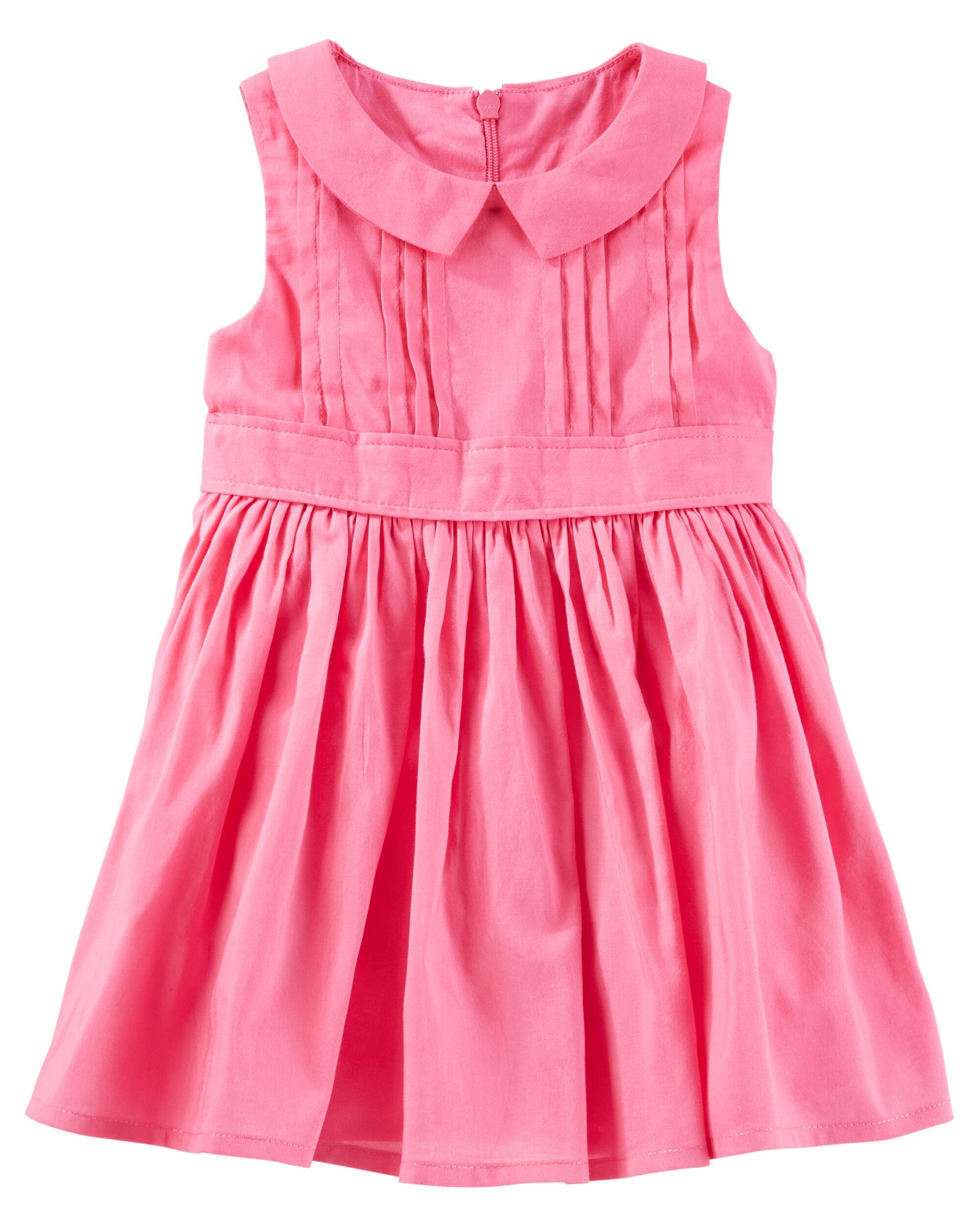 Baby Girl 2 Piece Pleated Peter Pan Collar Dress
