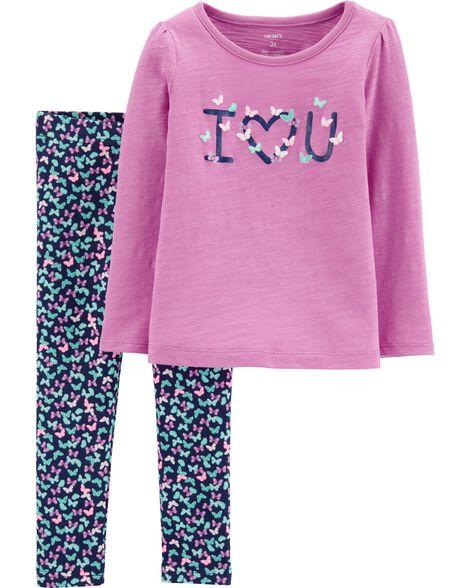 2-Piece I Love You Slub Top & Floral Legging Set