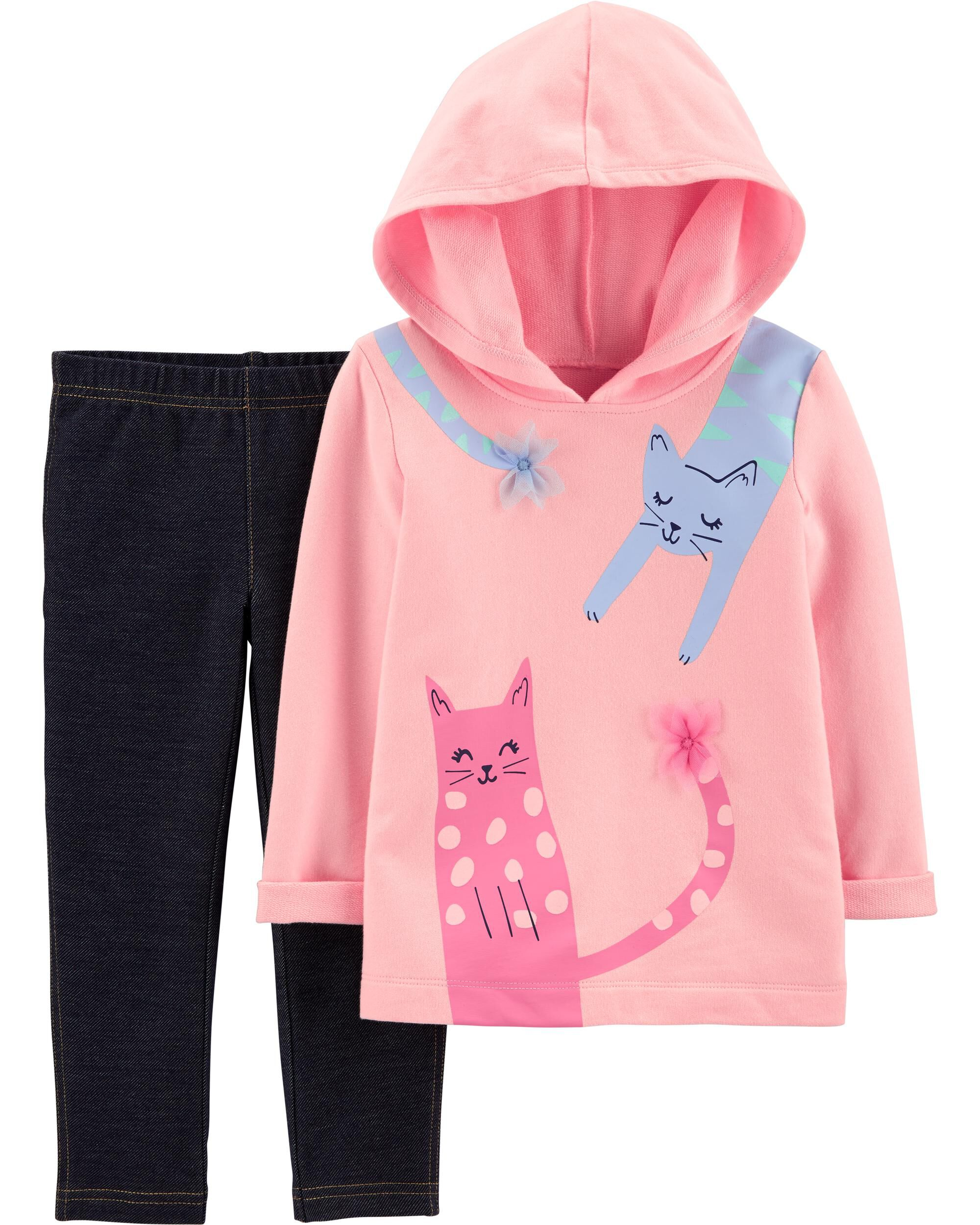 2-Piece Cat French Terry Hoodie & Knit Denim Pant Set