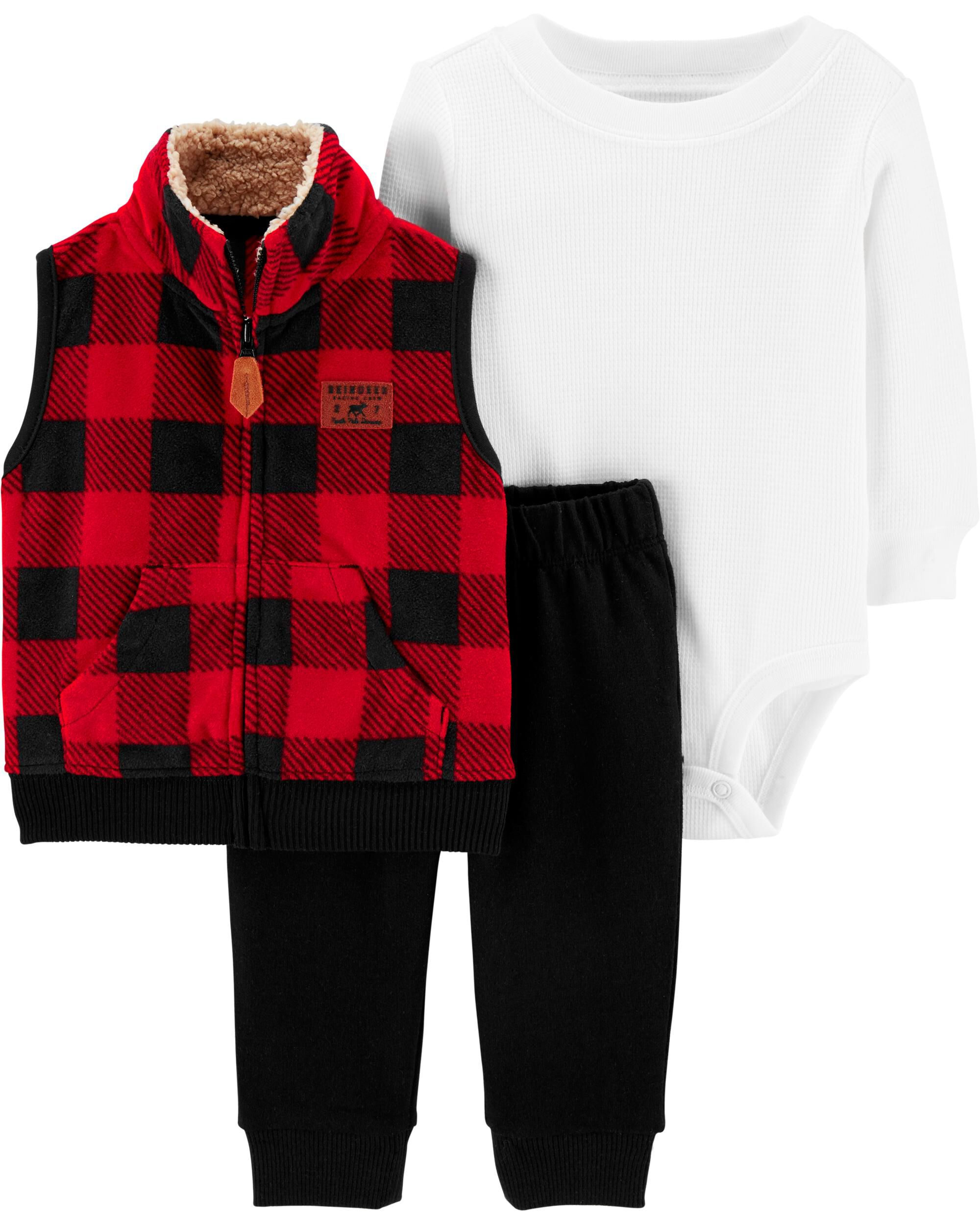 NB 6M 12M 2T Carter/'s Baby Girls/' 3 Piece Red Black Check Jumper Outfit Set
