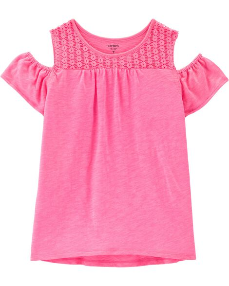 Neon Eyelet Cold Shoulder Slub Tee
