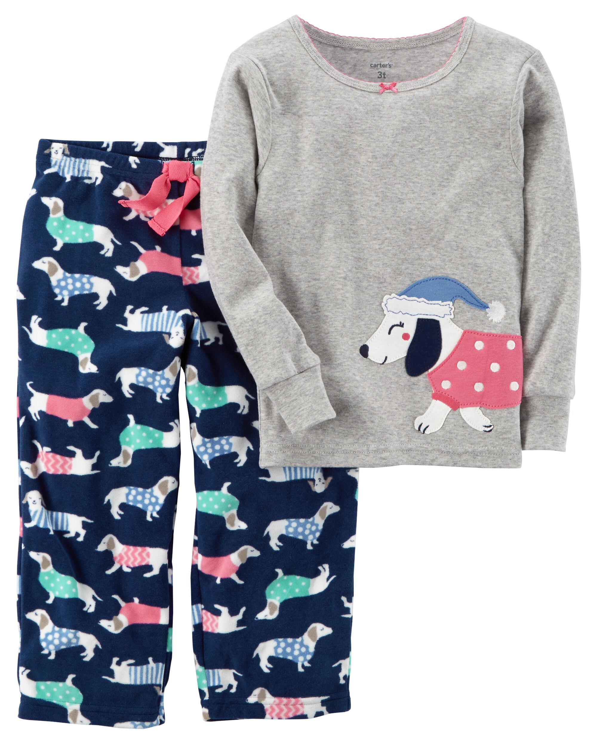 Carters Little Girls 2-Piece Cotton /& Fleece PJs
