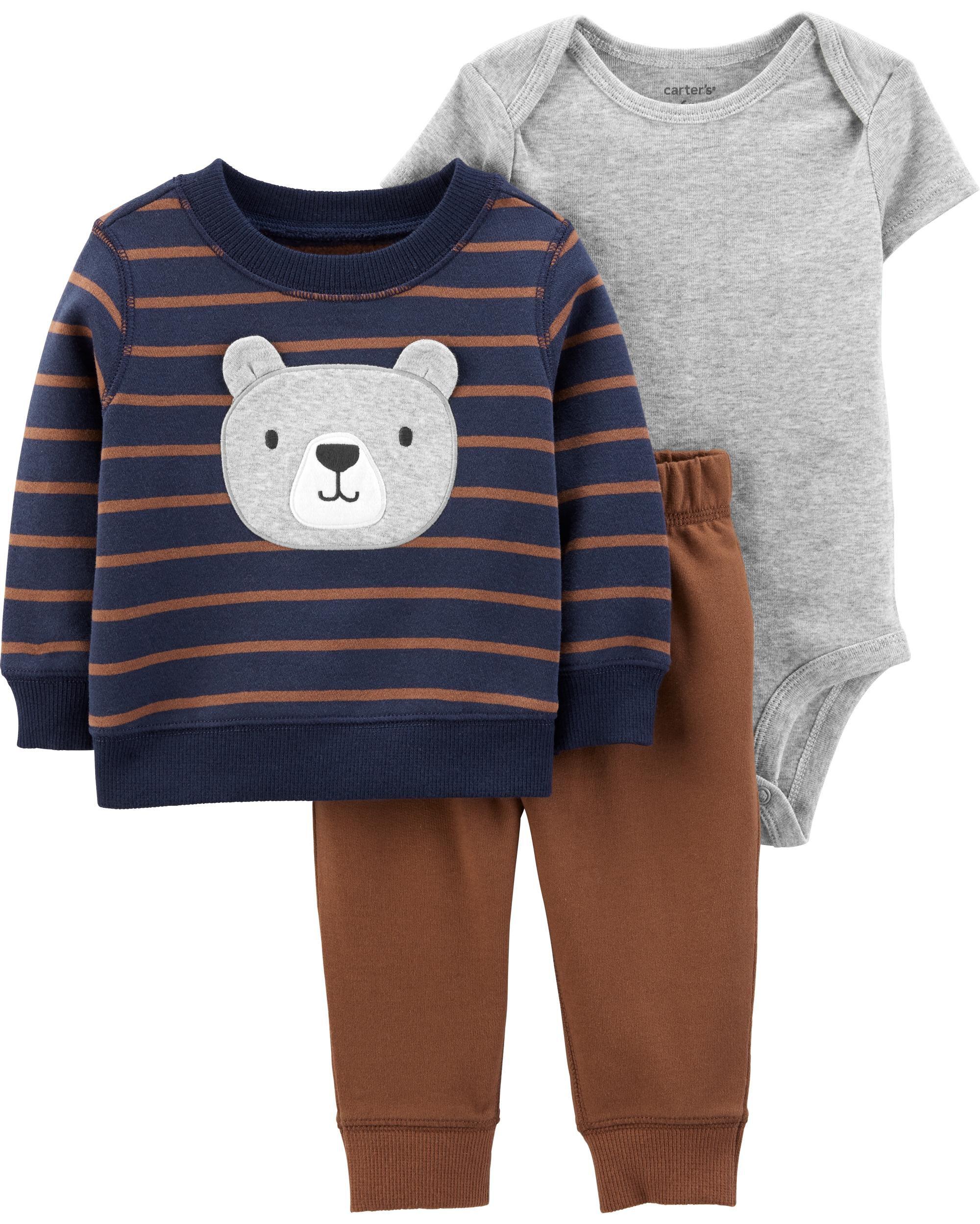 New Carter/'s Boys 3 Piece Cardigan Bodysuit Pant Set Terry Bear NB 3m 6m 9m 12m