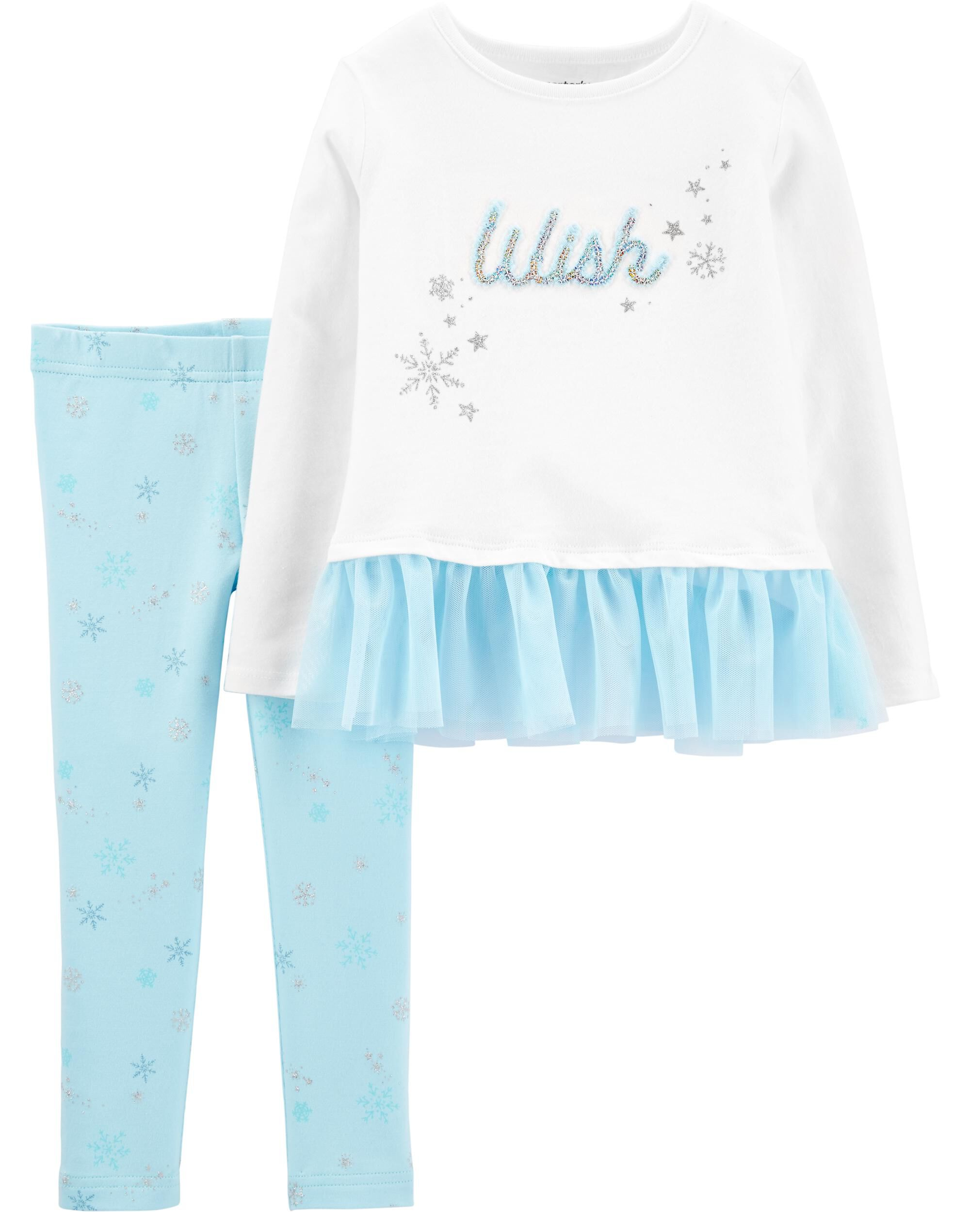 *CLEARANCE* 2-Piece Wish Peplum Top & Snowflake Legging Set