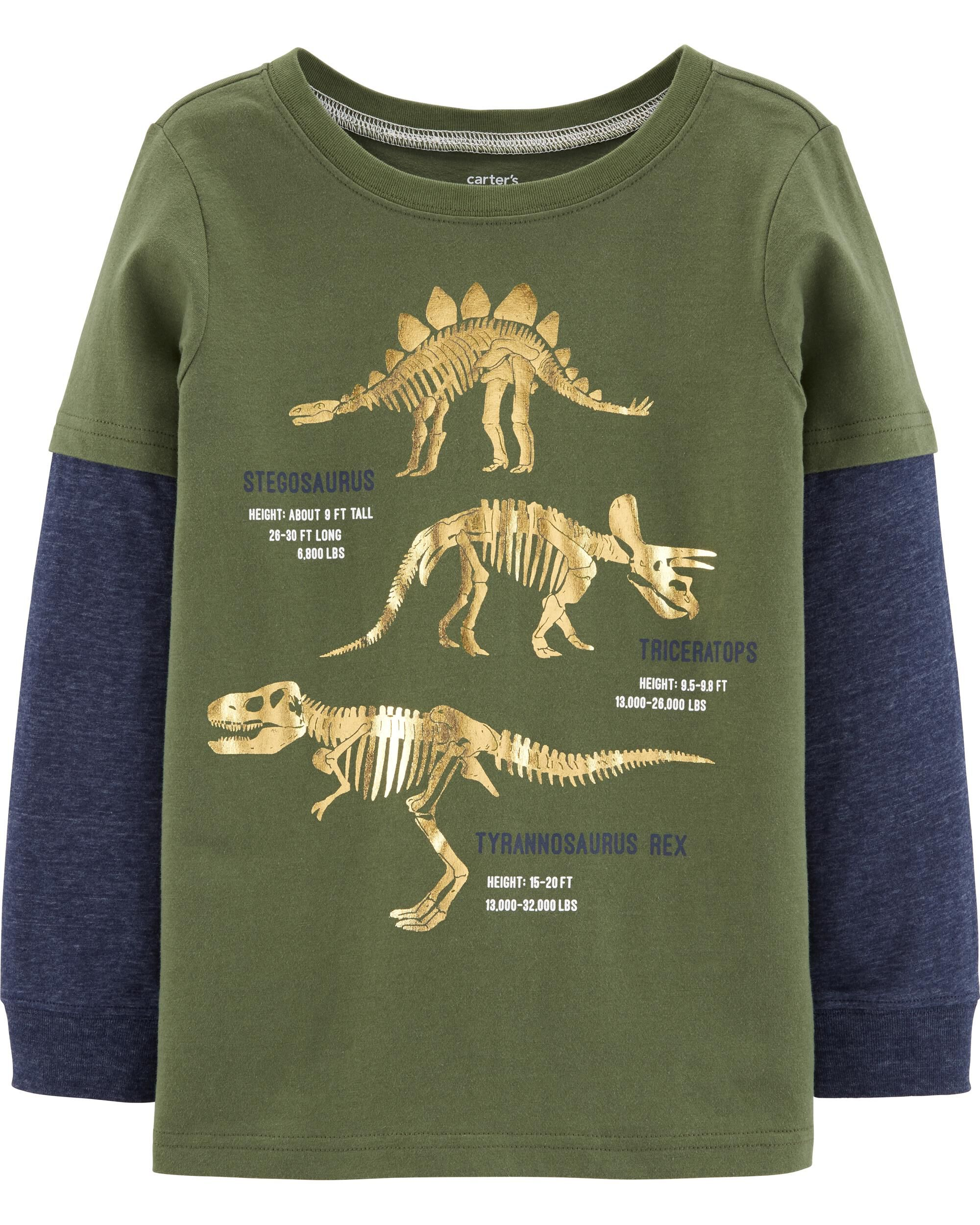*CLEARANCE* Dinosaur Layered-Look Jersey Tee