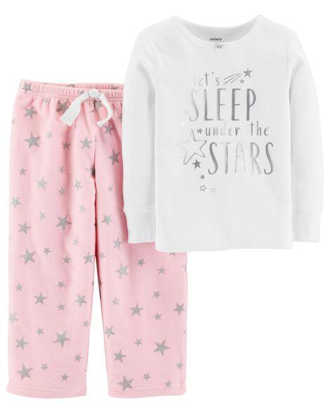 2-Piece Foil Star Snug Fit Cotton & Fleece PJs