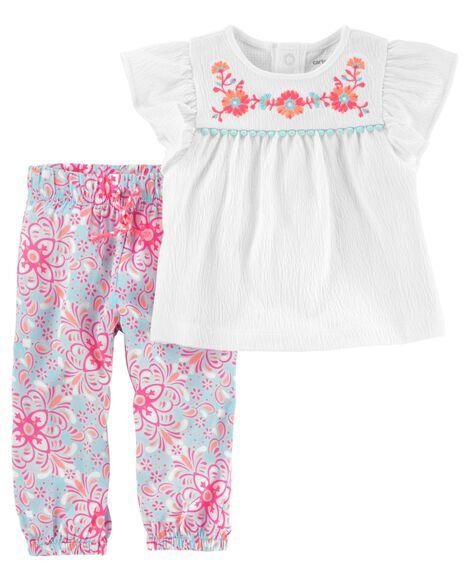 2-Piece Embroidered Flutter-Sleeve Top & Floral Poplin Pantt Set