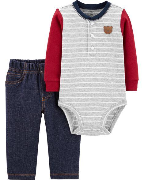 64e727960 2-Piece Bear Henley Bodysuit Pant Set | Carters.com