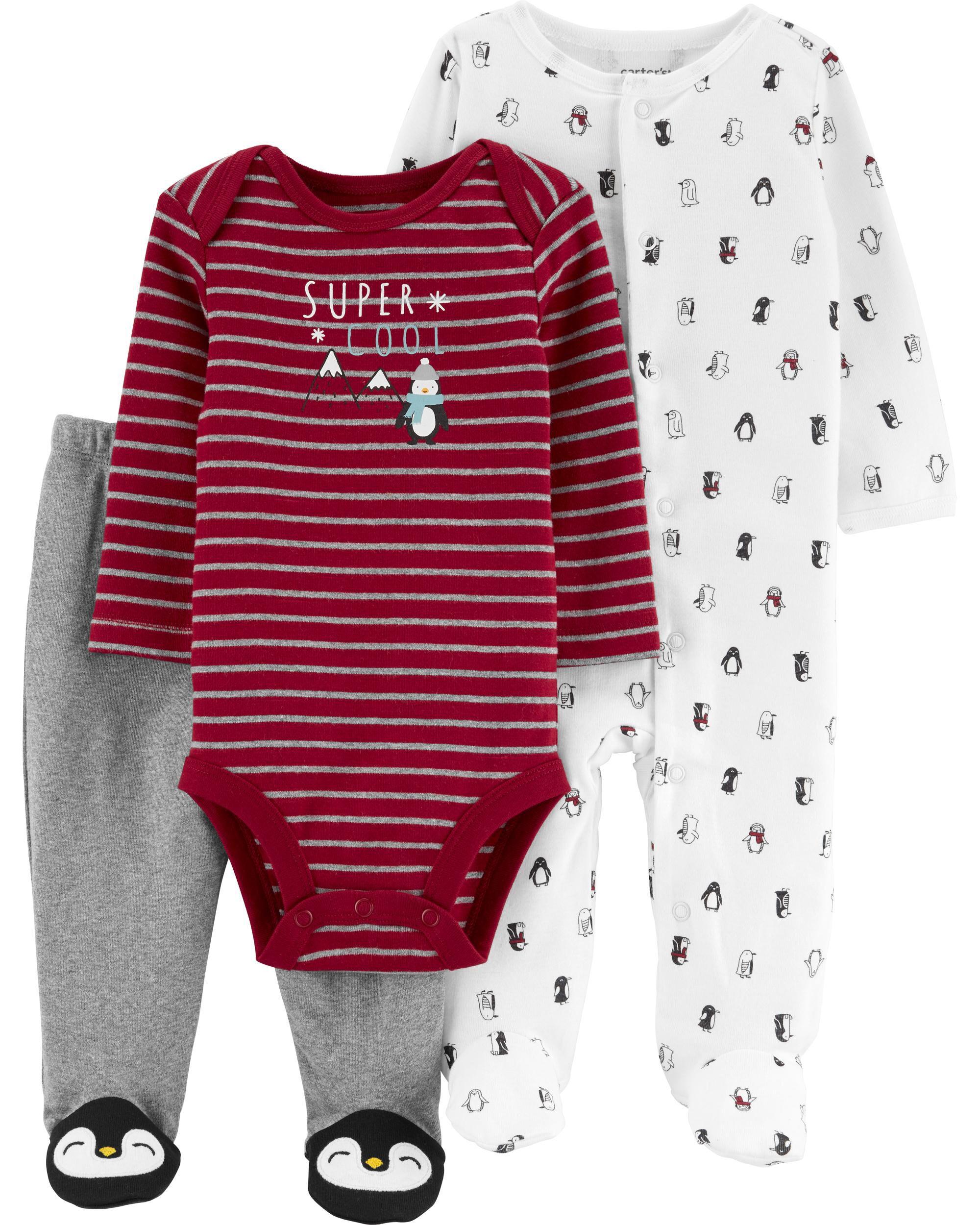 Carter/'s Baby Girls/' 3 Piece Bodysuits /& Penguin Pants Leggings Set 3M 6M