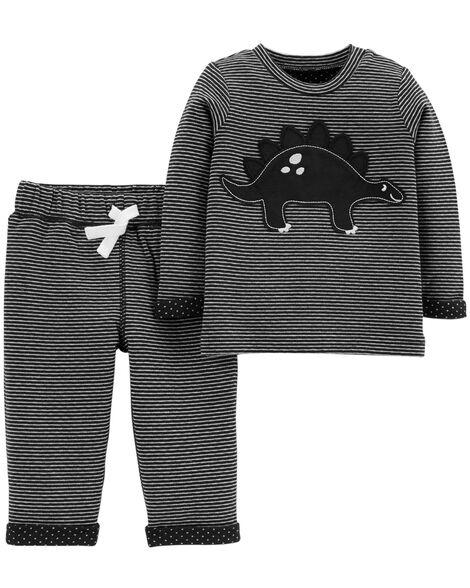 2-Piece Dinosaur Top & Reversible  Pant Set