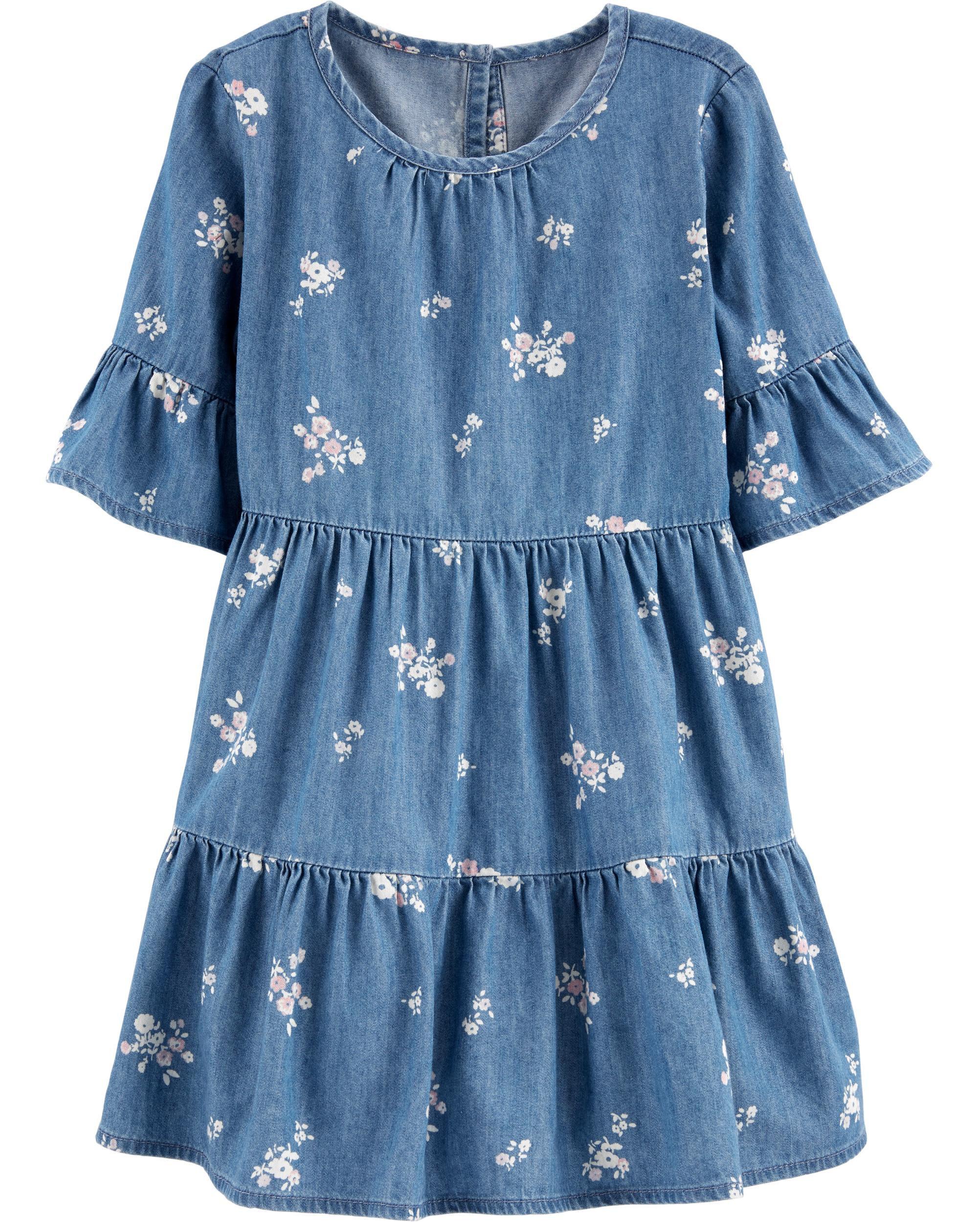 *CLEARANCE* Floral Denim Dress