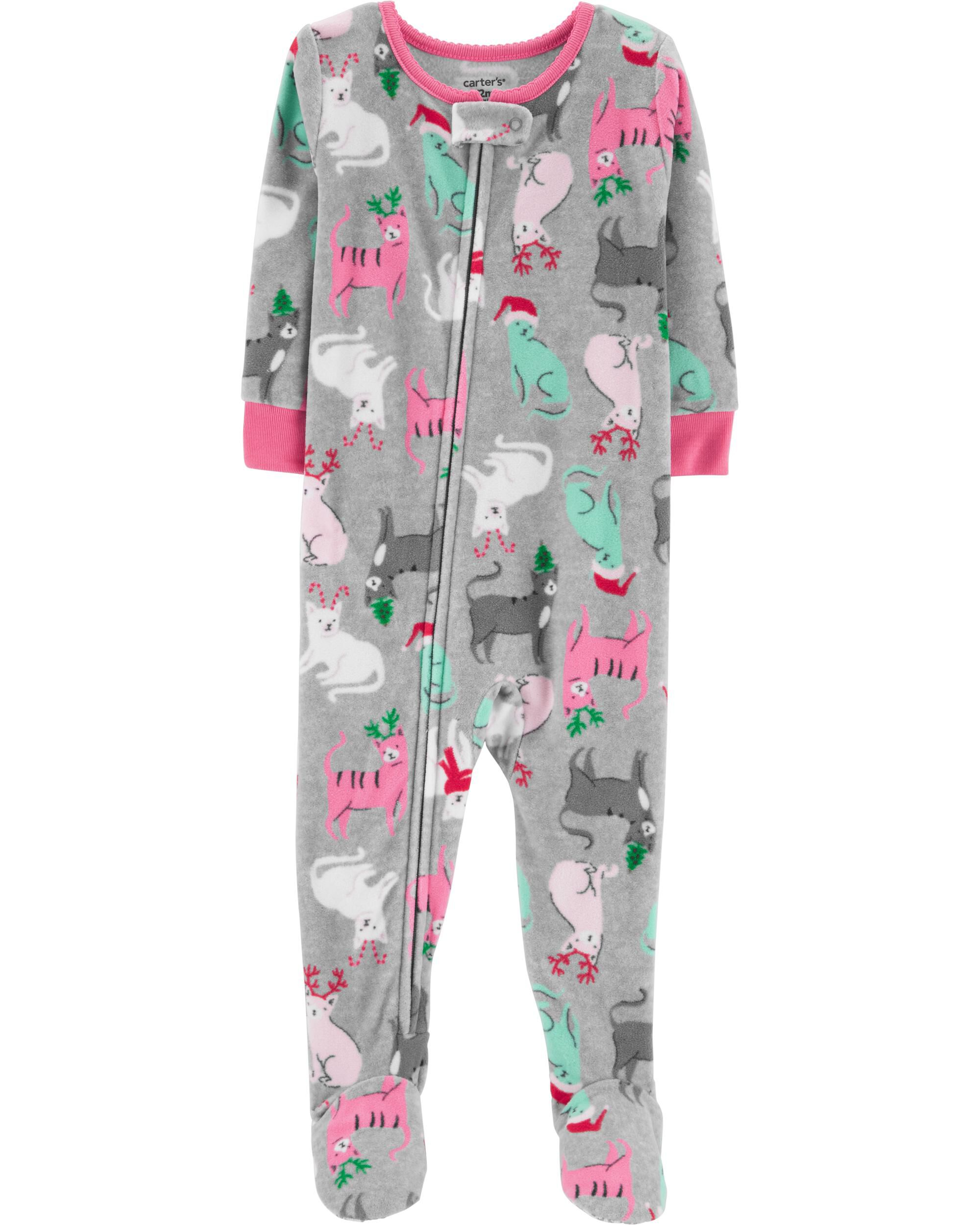 1 piece christmas cat fleece pjs loading zoom