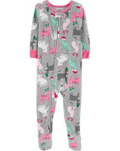1 piece christmas cat fleece pjs - Girl Christmas Pajamas