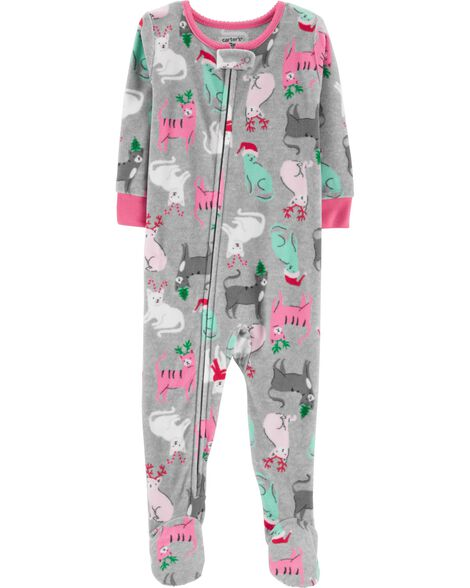 609d9e35eb36 1-Piece Christmas Cat Fleece PJs
