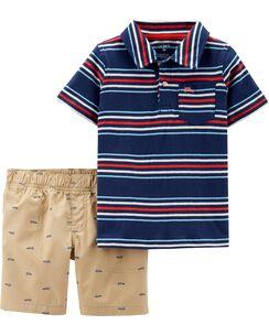 0b7d1c44c 2-Piece Striped Jersey Polo & Schiffli Short Set