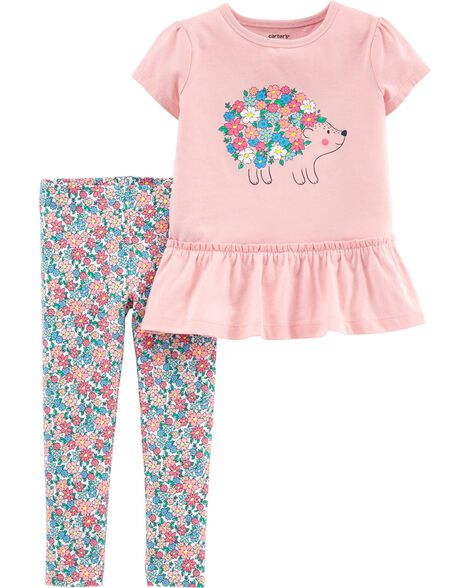 26ecf429905 2-Piece Hedgehog Peplum Top   Floral Legging Set ...