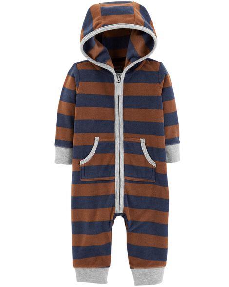 Bear Hooded Fleece Jumpsuit