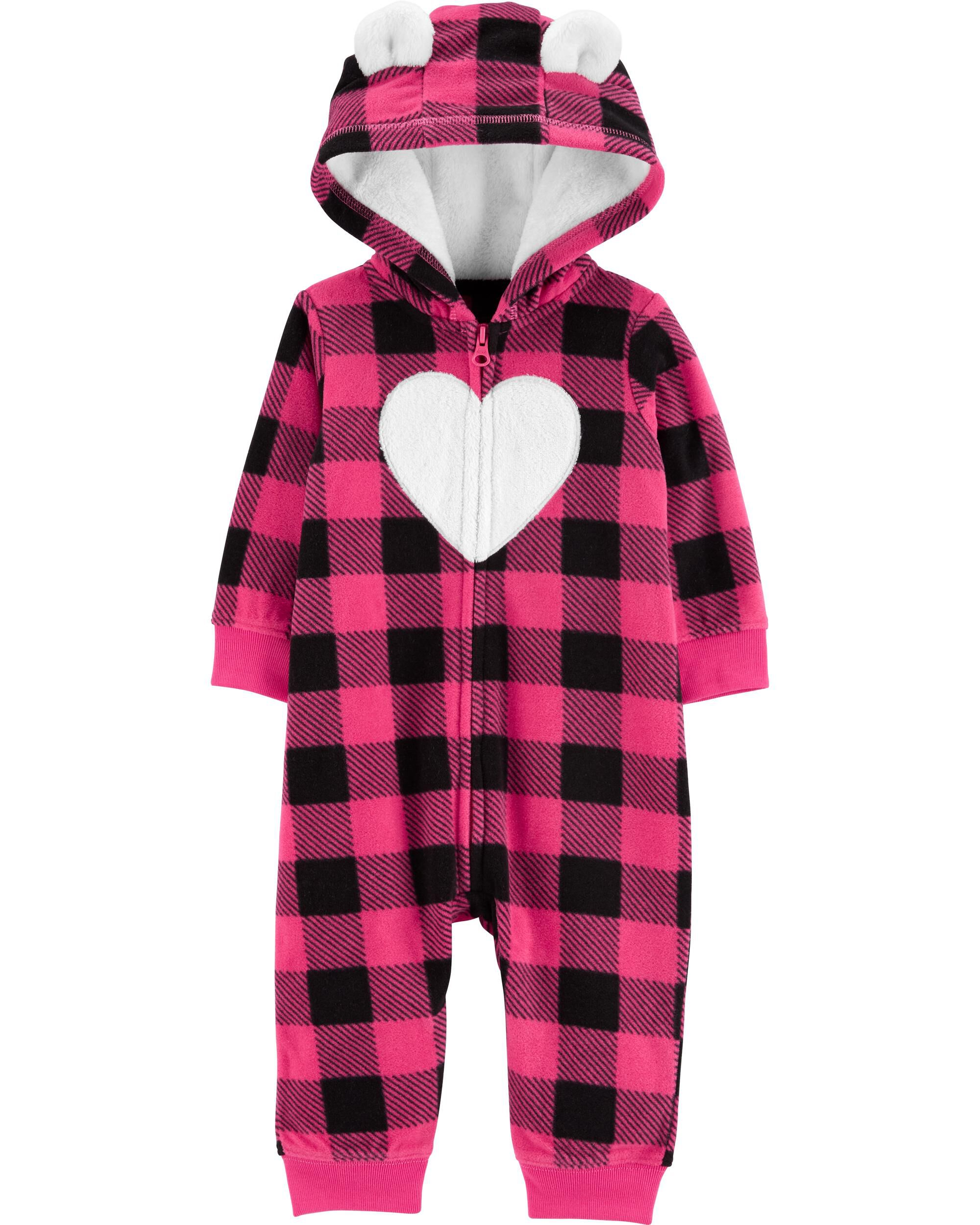 *CLEARANCE* Buffalo Check Zip-Up Fleece Jumpsuit