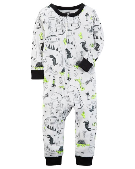 13dabcf1e 1-Piece Neon Dinosaur Snug Fit Cotton Footless PJs