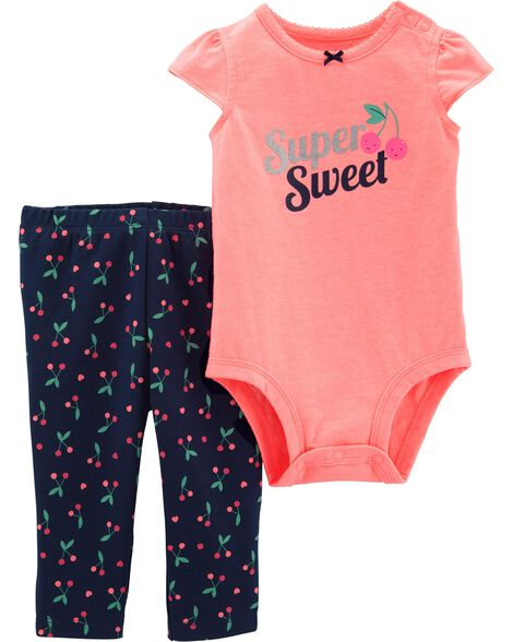 2-Piece Cherry Bodysuit Pant Set