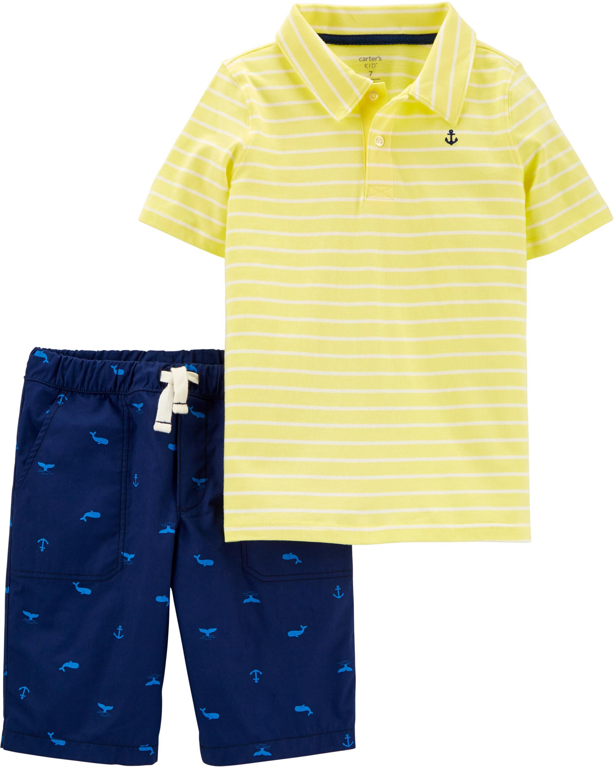 2-Piece Striped Polo & Whale Short Set